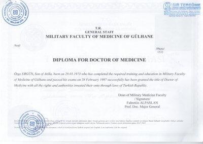 Dr Ozge Ergun Diploma